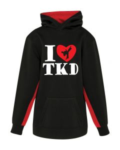 Youth Hoodie I Love TKD B/RED