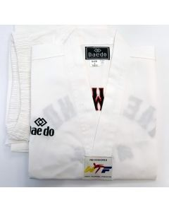 Daedo White Collar Uniform with Embroidery - WTF Approved