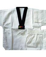 White Uniform Black V-Neck